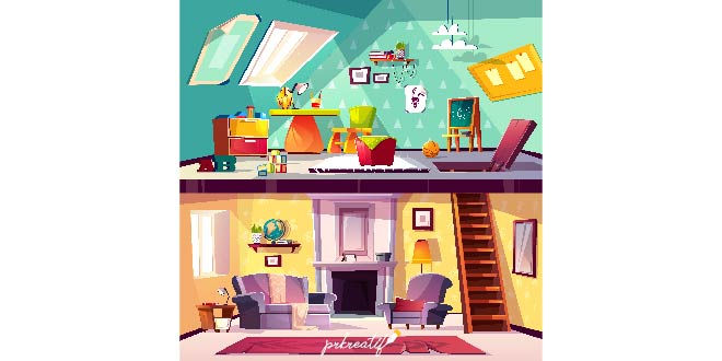 Cross Section Background Cartoon Interior Of Child Playroom On Attic Living Room Free Vector Free Vectors Photos Downloads Prkreatif
