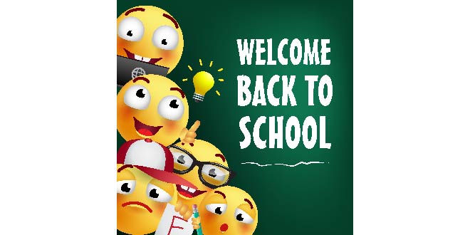 Welcome Back School Lettering With Happy Emojies Free Vector Free
