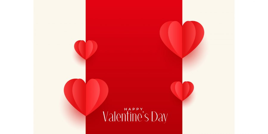 red origami hearts valentines day greeting design free vector