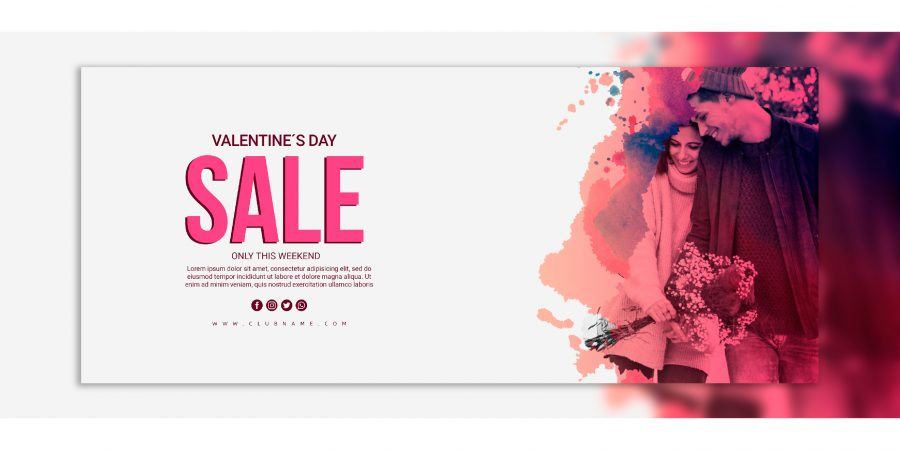 valentines day sale banners mockup free psd