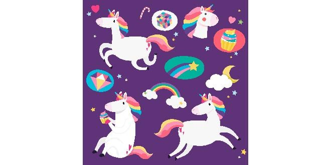 Cute unicorns with magical elements vector Free Vector