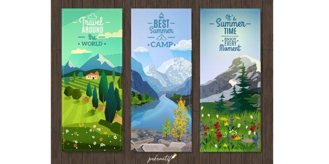 Summer landscape vertical banners set Vector